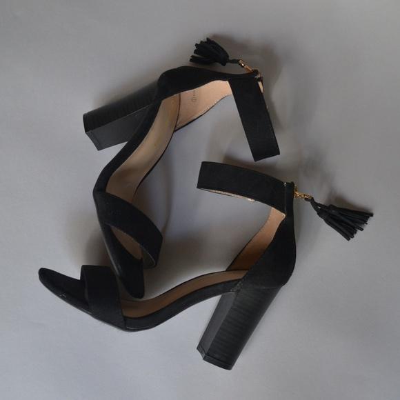 Black Chunky High Heel Shoes